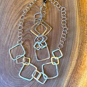 Hammered metal necklace and matching bracelet